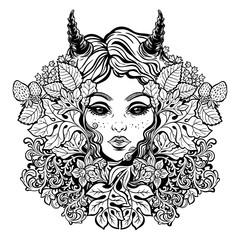 Celtic satyr girl, dark elf Pans face illustration