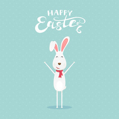 Blue background with happy Easter rabbit