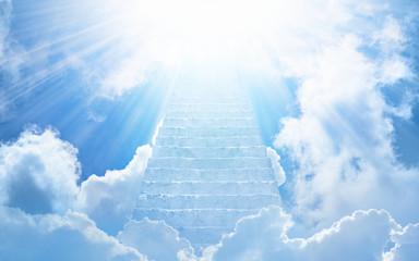 Stairs to heaven, bright light from heaven, stairway leading up to skies Wall mural