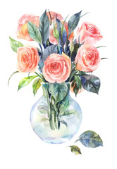 Watercolor roses in a glass vase isolated on a white background.