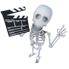 3d Funny cartoon skeleton character maing a movie with a clapperboard