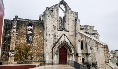 Ruins of the Gothic Church of Our Lady of Mount Carmel (Igreja do Carmo). Lisboa, Portugal