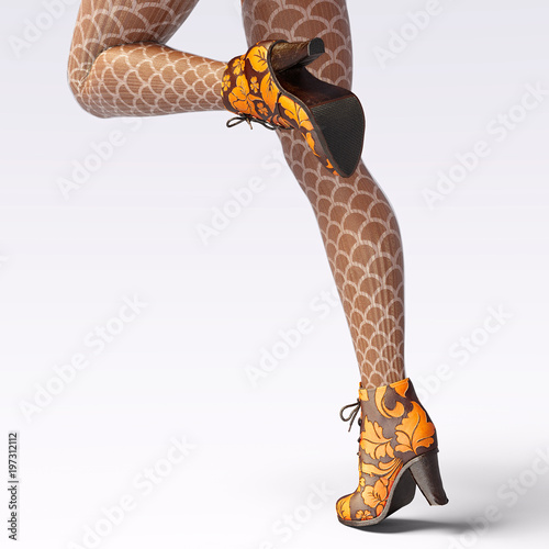 1d03eda0e6a Beautiful female legs woolen leggings and half-beads. Sexy slim female legs  boots. Autumn-Spring Collection. Seductive pose. Conceptual fashion art.
