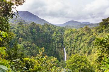 Waterfall in beautiful Costa Rican rainforest