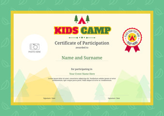 Search photos by beinluck kids summer camp diploma or certificate template with colorful background yadclub Gallery