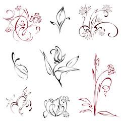 flowers 4-1. SET. stylized flowers on a white background. SET