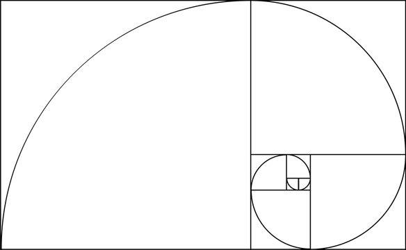 Golden ratio template. Composition spiral guideline illustration