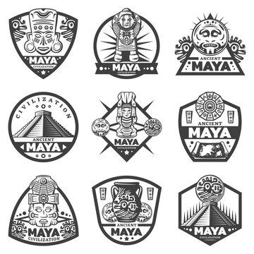 Vintage Monochrome Maya Labels Set