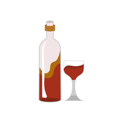 Wine Bottle and Glass Cafe Illustration