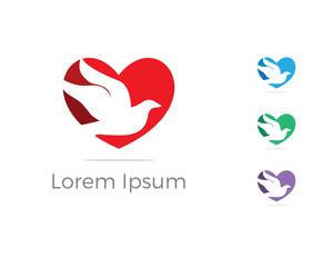 Bird logo vector design, birds lover icon, dove bird in heart vector illustration.