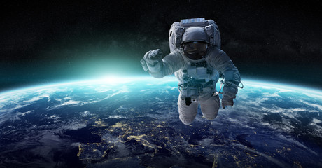 Astronaut floating in space 3D rendering elements of this image furnished by NASA Fototapete