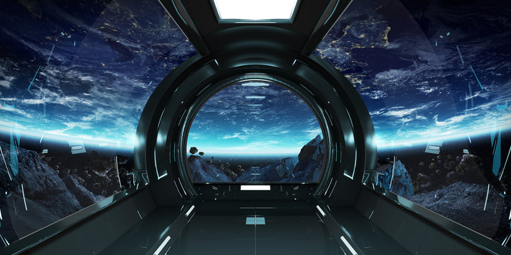 Spaceship interior with view on Earth 3D rendering elements of this image furnished by NASA