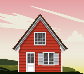 Beautiful red house with white Windows. shutters, wooden Windows, wooden cozy house. Vector graphics