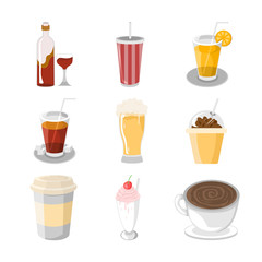Various Beverage Cafe Illustration Set