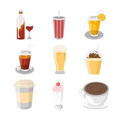 Various Beverage Cafe Illustration Set