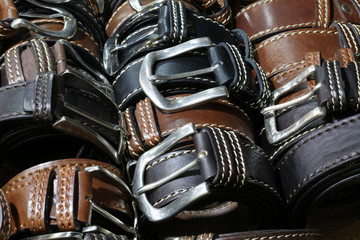 belts of leather for sale in the italian store