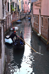 Water Transport on the Grand Canal, Venice, Italy, including gondolas and vaporettos
