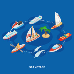 Sea Voyage Isometric Composition