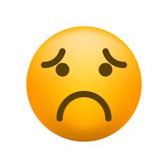 Cute Sad Emoticon on White Background . Isolated Vector Illustration
