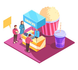 Snacks Cinema Isometric Composition