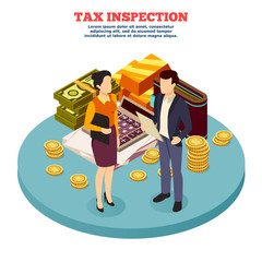 Tax Inspection Isometric Composition