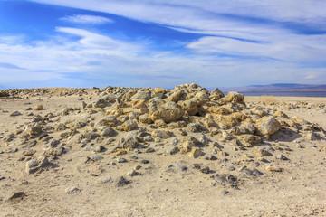 Rocky beach near Salton Sea, CA, USA.