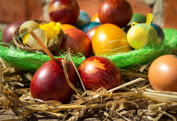 Colorful Easter eggs on wooden background. Easter eggs