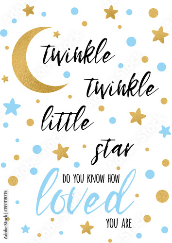 Twinkle Twinkle Little Star Text With Golden Oranment And Blue Star