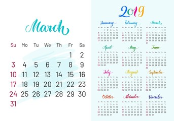 Colorful planner, 2019, march separately, white-blue background, lettering, artboard. Stylish annual calendar for modern people. Vector illustration of chart