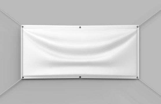 Blank White Indoor outdoor Fabric & Scrim Vinyl Banner for print design presentaion. 3d render illustration.