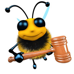 3d Funny cartoon honey bee character holding an auctioneer gavel