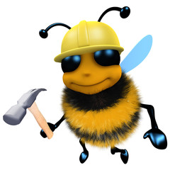 3d Funny cartoon honey bee construction worker character holding a hammer