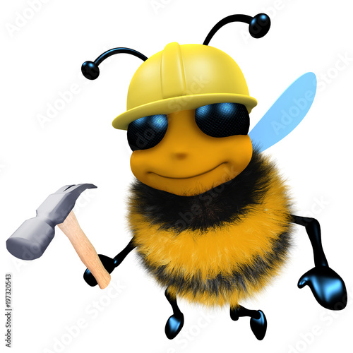 c4d035eac 3d Funny cartoon honey bee construction worker character holding a hammer