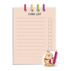 Check list and funny cat with a pencil. Design messages, business information, business notes, tests, to-do lists, sport or entertainment events.