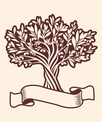 Olive tree and blank text banner. Extra virgin olive oil symbol. Symbol of culture and Mediterranean food.