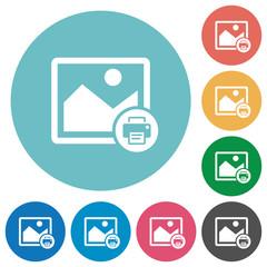 Print image flat round icons