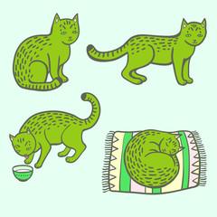 Set of green cartoon cat