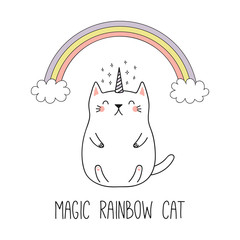 Canvas Prints Illustrations Hand drawn vector illustration of a kawaii funny unicorn cat under the rainbow. Isolated objects on white background. Line drawing. Design concept for children print.