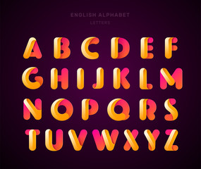 Vector abstract English alphabet. Material design, origami paper, funny, modern, glossy style. Letters collection