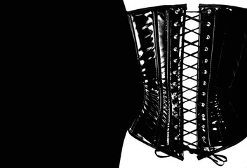 silhouette of a woman's back in a leather corset. BDSM concept