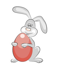 Funny Easter bunny with a big red egg. Vector illustration isolated.