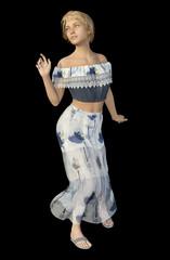 Tanzende Frau im Sommerkleid, Freisteller