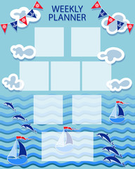 Baby organizer. Summer marine themes. WEEKLY PLANER. Time of adventure and sea voyages. The layout can also be used for children's photos.