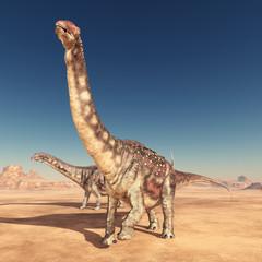 Dinosaurier Diamantinasaurus in der Wüste