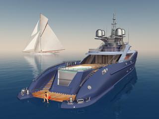 Luxusyacht und Segelyacht