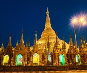 Shwedagon pagoda in Yangon. Night view
