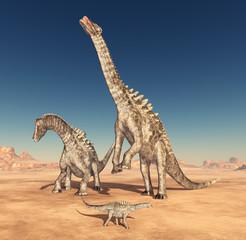 Dinosaurier Ampelosaurus in der Wüste