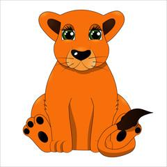 Cute cartoon baby lion