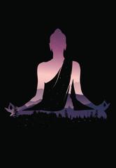 Buddha vector, Abstract Buddha on black background, Buddha and nature, meditation background - illustration