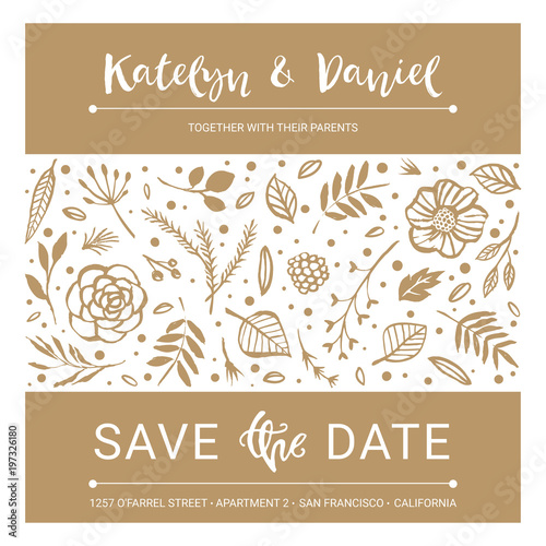 Save the date wedding invitation calligraphy floral card with wedding invitation calligraphy floral card with catchwords modern lettering hand stopboris Gallery